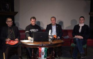 Téglásy Imre, Budaházy György, Gaudi-Nagy Tamás és Budaházy Edda a sajtótájékoztatón